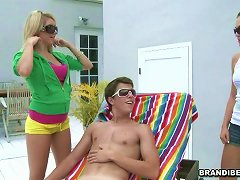 Three Horny Teens Spot A Guy Sunbathing & Try His Tool